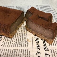 チョコチーズケーキ/バレンタイン/フード 昨日作った、チョコチーズケーキ🧀🍫一晩冷…