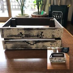 wood box/ペイントDIY/雑貨 wood boxに、クラッキングメディウ…