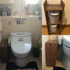 トイレ/端材/DIY/雑貨/100均/セリア/... 普通の我が家2階のトイレ🚽です! スノコ…