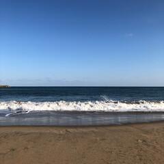 砂浜/青空/海/散歩/おでかけ お散歩の途中でパシャリ📸 綺麗な青空だっ…