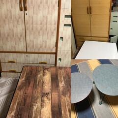 リメイクシート/棚/洋服タンス/和室/DIY/100均/... 和室に置いてある、洋服タンスと棚とテーブ…