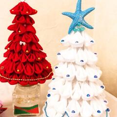 ジェルサンドキャンドル/サンドアート/貝殻/海/クリスマスツリー/つまみ細工/... つまみ細工ツリー、ホワイトバージョン🌞🌴…