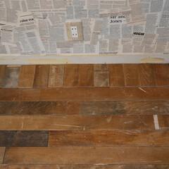 DIY/フローリング/古材/ジャンク/床板/セルフリノベ/... フローリング貼り作業、最後のところは向き…
