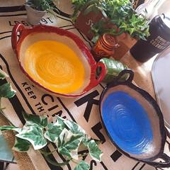 オーブン陶芸/手作り皿/皿/陶芸/フォロー大歓迎/ハンドメイド/... おうち陶芸。 オーブン陶芸を試してみまし…