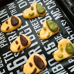 おうちカフェ/手作りクッキー/ホームメイド/キャラクッキー/ココアクッキー/抹茶クッキー/... 今日のおうちカフェ☕ 焼く前ですがスヌー…