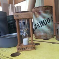 砂時計/ダイソー/アンティークワックス/ガラス絵の具/リメイク ダイソーの砂時計(元は塗装無し)をレトロ…