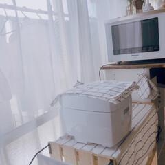 団地インテリア/団地DIY/団地/団地キッチン/フォロー大歓迎/DIY/... すのこと板で作った棚𓏲 炊飯器とかタオル…