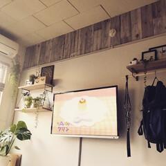 DIY/賃貸/賃貸DIY/壁掛けテレビ/ウォールシェルフ 元は引き戸でした。(1枚目)