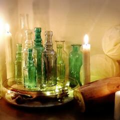 瓶/白砂/流木/ライト/ダイソー/玄関/... 現在の玄関ディスプレイ☆ 乱反射が美しい…
