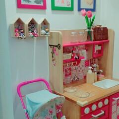キッズスペース/ままごとキッチン/おままごとキッチン/DIY 階段下にあるキッズスペースです♪