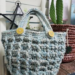 かぎ針編み/トートバッグ/ワッフル/セリア/100均/DIY/... 100均の新作ヤーンを引き揃えて、夏まで…
