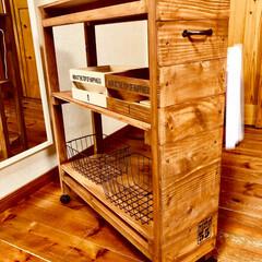 DIY/100均/セリア/ダイソー/収納 洗濯機を買い替えて隙間家具作ってみました…