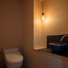 トイレ/木造/シナ合板/シンプル/ペンダント照明/便所/... シンプルな矩形を活かしたローコスト住宅