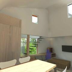 不動産・住宅/住まい/家/木造/ハウス/2階建て/... LDKの吹抜  南に光を取り込む窓が取れ…