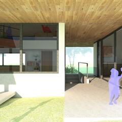 カフェ/Cafe/CG/カフェデザイン/エントランス/外観/... cafeの提案です。 「大きな公園の脇に…