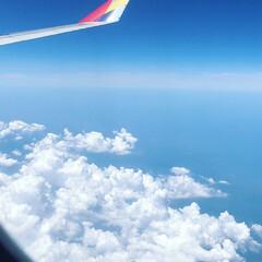 空/空の旅/旅行/夏の思い出 空の旅〜♡  これは夏に韓国へ行った時の…