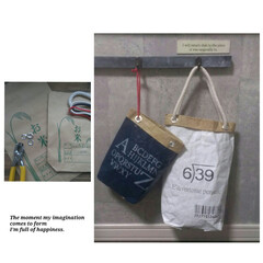 ハトメ/ステンシル/収納袋/ホームセンター/米袋リメイク お米袋を使った収納袋 左・・・2~3kg…