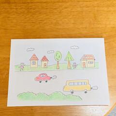 イラスト/車/自然/風景/インテリア/ハンドメイド 色鉛筆とボールペンで作成しました(о´∀…