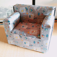 DIY/椅子 /子供/工作/牛乳パック/ハンドメイド/... ずーっと作れずにいた子供用の椅子がやっと…