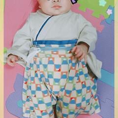 赤ちゃん/端午の節句/袴 袴はこんな感じです! 袴の富士山市松柄が…