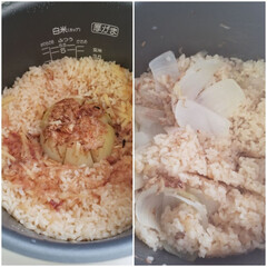 炊き込みごはん/新玉ねぎ/おうちごはん 新玉ねぎの丸々炊き込みごはん🍚 新玉ねぎ…