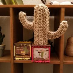 サボテン/セリア/ハンドメイド サボテンをスジ編みで編んでみました🌵💕