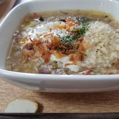 雑炊/そば米/おうちごはん 今日のお昼ごはん🍚😋🎶 ①徳島の郷土料理…
