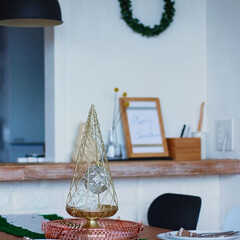 2018/クリスマス/クリスマスツリー/雑貨/インテリア/ニトリ/... 白い余白の壁に飾ってみました。ワイヤータ…(1枚目)