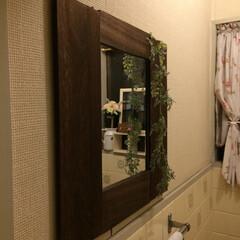 簡単/ミラー/DIY/100均/セリア/ダイソー/... トイレに自作自演の鏡を。 材料は100均…