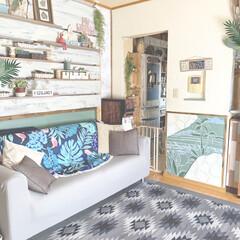 ハワイ/リゾート風/南国風/ラブリコ/DIY/雑貨/... ソファーのアクセントカバーを オルテガ柄…