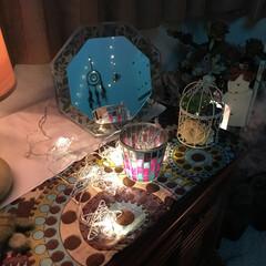サロン/クリスマスバージョン 鏡にうつった壁側もお気に入り。