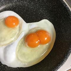 双子/卵/ついてる/目玉焼き 双子♡ 朝からついてる感じ。 今日も幸せ♪