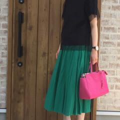 ママコーデ/ビビットピンク/チュールパンプス/カラースカート/チュール/ファッション 全体的にチュールが付いているsenceo…