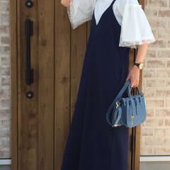 ママコーデ/ボリュームスリーブ/サロペット/春コーデ/ファッション お袖のボリュームがとにかく可愛いカットソ…
