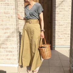 ママコーデ/かごバッグ/チノスカート/ギンガムチェック/ファッション LIPSTAR  さんのギンガムチェック…