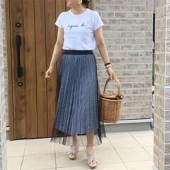 ママコーデ/夏コーデ/チュールスカート/ギンガムチェック/ロゴTシャツ/ファッション SENCE OF PLACEさんのギンガ…