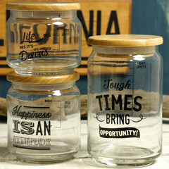 キッチン雑貨/保存容器/キャニスター/アメリカン/タイポグラフィー ポジティブなメッセージのプリントがおしゃ…
