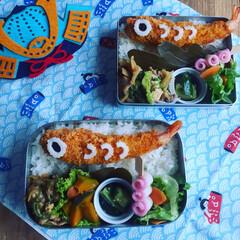 簡単弁当/こいのぼり弁当/こいのぼり/端午の節句/こどもの日弁当/おうちごはん/... お惣菜の海老フライで簡単🎏鯉のぼり