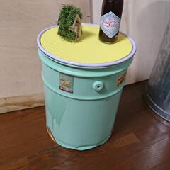 DIY/100均/リメイク/ペール缶/西海岸/西海岸風 ペール缶をオシャレな西海岸風にリメイクし…