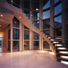 階段/螺旋階段 山手イタリア山の家 光りながら宙を登るら…