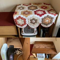 キルト/ハンドメイド/猫/にゃんこ同好会/DIY/家具/... ベンチの横に合うように 前にすのこで作っ…