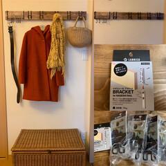 洋服掛け/ナゲシレール/LABRICO/ラブリコ/DIY/インテリア/... 棚やタオル掛けを設置しましたが やっとホ…