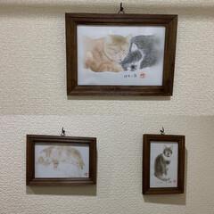 お絵描き/うちの猫/にゃんこ同好会/100均/ダイソー ちょっとそれらしく⁈ ダイソーの写真立て…(1枚目)
