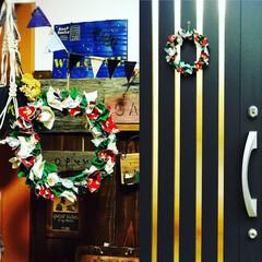 リース/クリスマスリース/布/リメイク/お手軽 生地、布を使ってクリスマスリース🎉 好き…