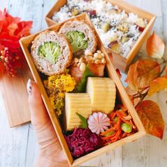 手作り/メンチカツ/さつまいもご飯/愛妻弁当/お弁当/旦那弁当/... 秋に食べたいさつまいもごはんに、キャベツ…
