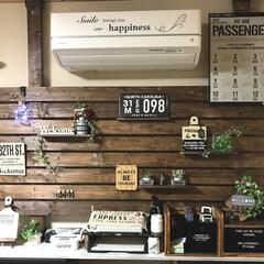 壁DIY/カフェ/男前/キャンドゥ/DIY/ディアウォール/... ずっと作ってみたかった飾り棚が完成しまし…