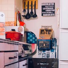 男前インテリア/アメリカンPOP/キッチン雑貨/DIY/雑貨/インテリア/... 先日 DIYした ダストBOX✨ 冷蔵庫…