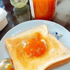 食パン/朝ごはん/杏ジャム/食育/スイーツ/おうちごはん/... 末っ子の幼稚園で食育🍽 自分達で拾った杏…
