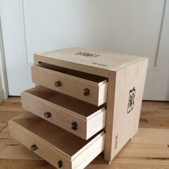 DIY/収納/ハンドメイド/揚立屋/木箱/再利用 さつま揚げの木箱で小さな引出しを。蓋つき…