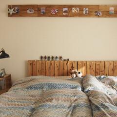 寝室/ベッドルーム/寝室インテリア/インテリア/DIY/DIY女子/... 寝室のインテリア。 diyのヘッドボード…